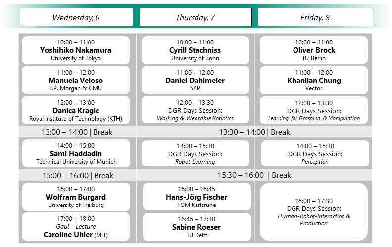 Timetable of the conference at a glance. For details, see navigation entry timetable